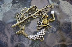 Mermaid Toggle Clasp, (T01B) Original Design: brass plated with rhinestones, Ocean lover must see!! by OrientalSecretGarden on Etsy