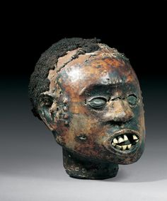 Ejagham / EKOI ATTACHMENT MASK Cameroon. H 18 cm. Provenance: Austrian private collection.