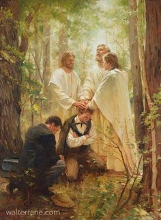 Joseph Smith and Oliver Cowdery recieving the Melchizedek Priesthood from Peter James and John Joseph Smith, Arte Lds, Melchizedek Priesthood, Lds Pictures, Lds Jesus Christ Pictures, Jesus Christ Lds, Savior, Jesus E Maria, Lds Art