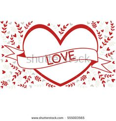 Heart and banner with nature leaf branches background