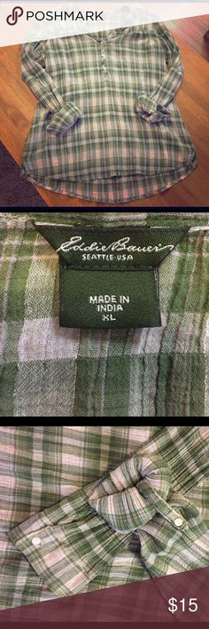 Eddie Bauer stretchy 1/4 button top Pretty green plaid shirt that has buttons on the top 1/4. No damage or stains. It's hardly been worn. Eddie Bauer Tops Blouses