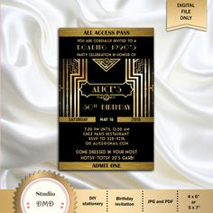 Great Gatsby Style Art Deco Birthday Party Invitation, Prom, Graduation, Black and Gold, 21st 30th 40th 50th 60th 70th 80th - Printable DIY