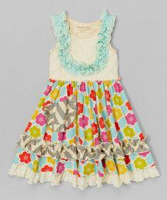Another great find on #zulily! Beige & Blue Gwendolyn Twirl Dress - Toddler & Girls by Mustard Pie #zulilyfinds