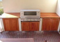 BBQ timber cabinet bench top