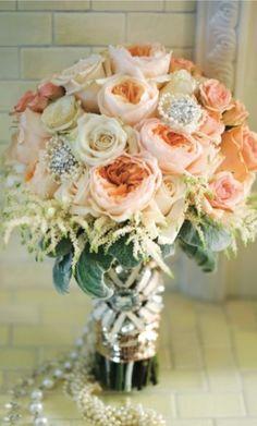 GATSBY GLAMOUR: 1920S WEDDING INSPIRATION! | Wedding Inspirations wedding themes, bridal bouquets, jazz age, wedding bouquets, weddings, peach, bouquet wedding, bride, flower