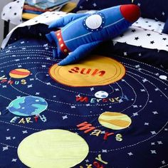 AK Navy SOLAR SYSTEM Planets SINGLE, DOUBLE or QUEEN choice QUILT COVER SET BNIP