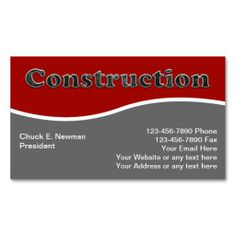 Construction Business Cards. This great business card design is available for customization. All text style, colors, sizes can be modified to fit your needs. Just click the image to learn more!