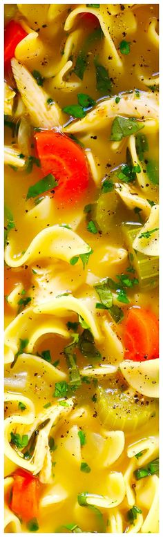 Herb-Loaded Chicken Noodle Soup ~ Kick your classic homemade chicken noodle soup up a delicious notch by loading it up with loads of fresh Italian herbs. Chili Recipes, Slow Cooker Recipes, Crockpot Recipes, Soup Recipes, Cooking Recipes, Healthy Recipes, Chicken Wild Rice Soup, Chicken Noodle Soup