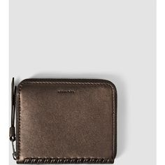 AllSaints Club Coin Purse (135 AUD) ❤ liked on Polyvore featuring bags, wallets, chocolate, 100 leather wallet, leather wallet, leather coin purse, leather coin pouch and leather change purse