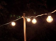 DIY posts for canopy string lights. For yards, like outs with no trees near the deck or patio.