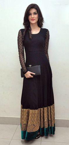 USD 70.19 Kriti Sanon Black Net Long Gown 36187