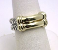 David Yurman woven cable with gold bar ring benchmarkgembrokers.com