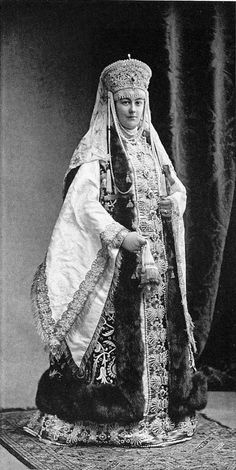 Countess Sheremetieva in a XVII century Russian costume for the Romanov Imperial Ball, April 1903....125 by klimbims on deviantART