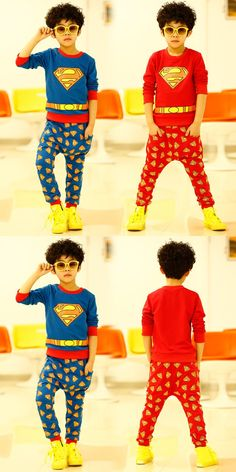2016 spring and autumn kids clothes baby boys superman long-sleeve t-shirts + harem pants boys clothing sets fashion sets