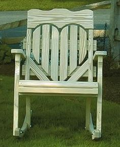 Amish Pine Wood High Back Heart Porch Rocking Chair