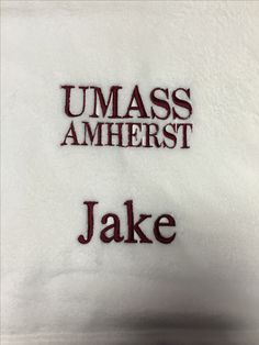 Embroidered logo and name on blanket