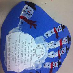 Handprint Snowman Ornament Tag   Hand & Footprint Art