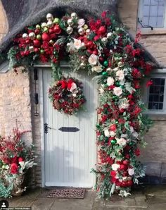 Incredible celebrity Christmas doors: Amanda Holden, Robbie Williams, Rochelle Humes and Front Door Christmas Decorations, Christmas Front Doors, Christmas Porch, Christmas Time, Christmas Wreaths, Holiday Decor, Christmas Entryway, Christmas Displays, Rustic Christmas