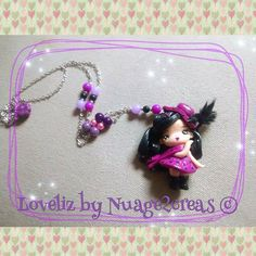 Fimo doll necklace polymer clay doll necklace by Nuage2Creas