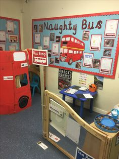 Naughty bus - bus station role play area London Activities, Eyfs Activities, Nursery Activities, Year 1 Classroom, Eyfs Classroom, Literacy Year 1, Role Play Areas Eyfs, Bus Information, Transport Topics