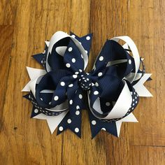Navy and white dot hair bow - Hairbow , hair clip bow, girls hair bow - stacked boutique - Birthday hairbow - spikes, TBB by BBgiftsandmore on Etsy