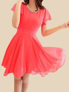 $11.00 Ruffled Scoop Neck Solid Color Short Sleeve Casual Chiffon Dress For Women