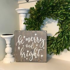 Excited to share the latest addition to my #etsy shop: Be Merry And Bright Christmas Sign; Neutral Christmas Decor; Farmhouse Christmas Decor; Neutral Mantle Decor; Christmas Mantle Decor