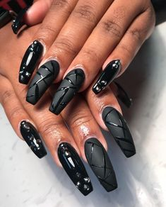 """If you're unfamiliar with nail trends and you hear the words """"coffin nails,"""" what comes to mind? It's not nails with coffins drawn on them. It's long nails with a square tip, and the look has. Dark Nail Designs, Acrylic Nail Designs, Dark Nails, Long Nails, Short Nails, Nail Art Blanc, Hair And Nails, My Nails, White Nail Art"""