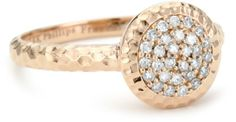 """The original """"Affair"""" Stack Ring is elegantly designed in 14k rose gold with the signature Phillips Frankel hammered micro pave diamond disc, and features 29 diamonds, 0.18 cttw and a shiny hammered finish"""