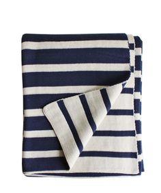 Stripe Knit Throw Blanket, Navy