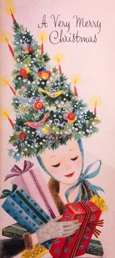 Vintage Christmas Greeting Card Mid Century Girl Presents Tree Hat Bird Shopping | eBay