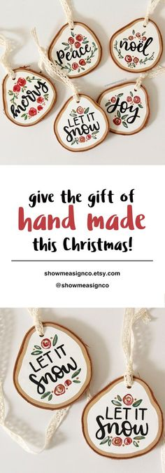 Hand Made or local made gifts are the best kind of gifts! Give your loved one or Secret Santa a beautifully hand painted ornament for Christmas this year. Christmas Ornament | Typography Ornament | Hand Painted Ornament | Hand Lettering Ornament | Christmas Tree Decor | Beautiful Ornaments | Christmas Decor