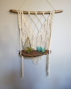 "Macrame shelf with live edge wood. 163 Likes, 22 Comments - Kari F. (@macramebykari) on Instagram: ""I'm getting ready to go on a week long vacation this am so I thought I would leave you all with…"""