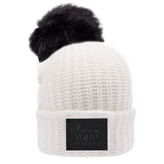 988e3af7494 White Pom Beanie (Black Leather Patch)