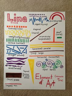 Anchor chart for unit one: elements of art. Line. Classroom poster. Display. http://SuncoastArtAcademy.com