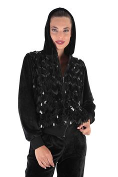 Claire Katrania Βελούδινη Φόρμα Glam Μαύρο