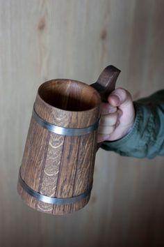 Wooden Beer Mug 0.7 l 23oz Groomsmen Gift Tankard Wooden