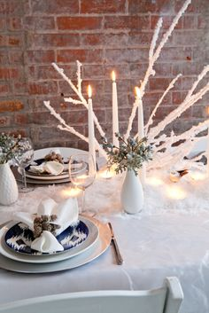 tablescape, spray branches with snow