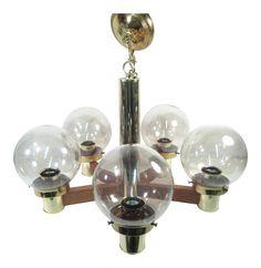 Mid Century Modern Brass & Wood Globe Chandelier on Chairish.com