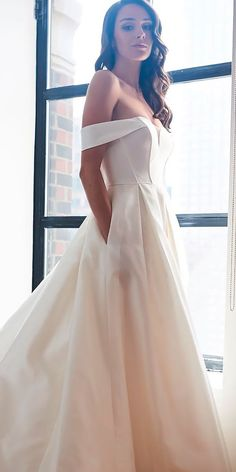 33 Romantic Off The Shoulder Wedding Dresses ❤ off the shoulder wedding dresses simple modern a line with pockets kelly faetanini ❤ See more: http://www.weddingforward.com/off-the-shoulder-wedding-dresses/ #weddingforward #wedding #bride
