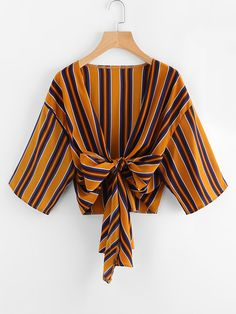 SheIn offers Drop Shoulder Knotted Hem Striped Kimono & more to fit your fashionable needs. Diva Fashion, Cute Fashion, Korean Fashion, Shirts & Tops, Stylish Outfits, Cute Outfits, Shoulder Knots, Formal Tops, Vetement Fashion