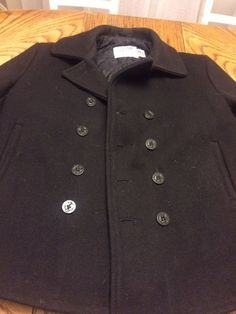 f0b8b292 SCHOTT U.S. 740N WOOL PEA COAT Black Men's USA Size 46 EUC #mens #size