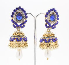 Large Vintage Silver Royal Blue Diamante & Kundan Stoned Gold Pearl Indian…