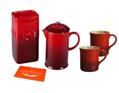 Intelligentsia/Le Creuset Coffee Set in red. Lovely. $149 Paired with this pin: http://pinterest.com/pin/256071928782343963/