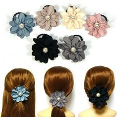 Big Large Satin Pearl Flower Elastic Ponytail Holder Hair Tie Band Ring  Rope New  71ab58c1229