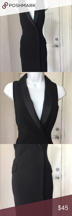H&M Black Sleeveless Tuxedo Dress H&M Black Sleeveless Tuxedo Dress. NWT. Super sleek elegant Tuxedo dress. FAux satin pockets, satin lapels. Size 8. Sleeveless H&M Dresses Midi