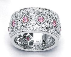 white gold wide diamond womens band | … Pink Sapphire