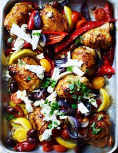 Easy as can be and super tasty, this Greek chicken traybake looks fabulous and is equally delicious. The taste is refreshing with the lemon and oregano and the Greek basil ads a subtle and spicier flavor. Easy to make and with lots of flavor. Cooking Recipes, Healthy Recipes, Cooking Videos, Fodmap Recipes, Daily Meals, Greek Recipes, Greek Chicken Recipes, Baked Chicken, Chicken Legs
