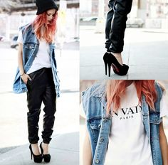 Tee, Miss Kl Vest, She Inside Slouchy Pu Pants, Asos Beanie - IN VAIN - PARIS. - Lua P
