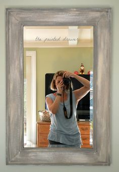 How to create the weathered wood look with paint using Annie Sloan chalk paint. In this video tutorial, I show how to take a big-box store, inexpensive mirror and transform it into a weathered wood inspired, expensive mirror for your home! Barn Wood Mirror, Wood Framed Mirror, Diy Mirror, Painted Mirror Frames, Wood Frames, Chalk Paint Mirror, Mirror Painting, Diy Painting, Cheap Mirrors